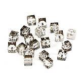 Korálky - Krištálová kocka 5601 - šedá 6x6mm - 6271503_
