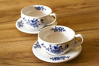 Nádoby - Šálka na čaj s podšálkou - modré ruže - 6273753_