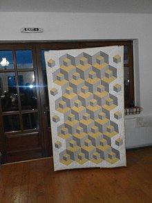 Úžitkový textil - Prikrývka-3D kocky - 6275597_