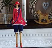 Bábiky - Dáma v červenom klobúku - 6275638_