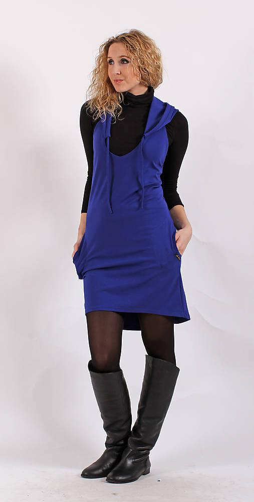 Modrá šatovka s kapucí   ladeesse - SAShE.sk - Handmade Šaty 16337b96b7