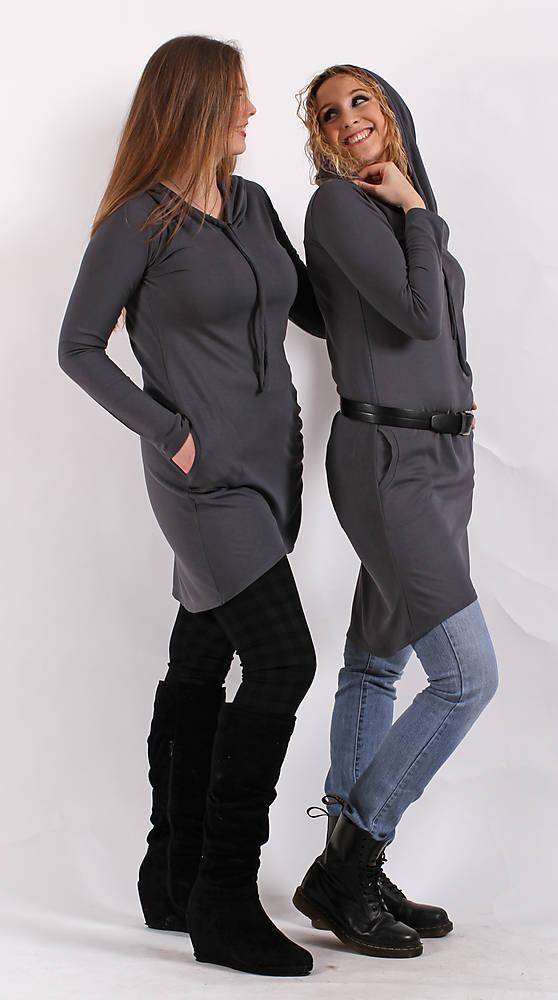 Tmavěšedé šaty s kapucí   ladeesse - SAShE.sk - Handmade Šaty 5ea12ebe11