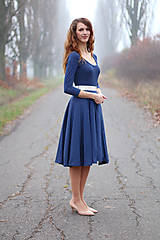 Šaty - Modré MIDI s bodkami - 6282100_