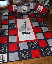 Úžitkový textil - Námornícky komplet s vankúšmi - 6280450_