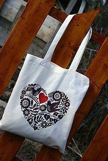 Nákupné tašky - Bavlnená taška - Srdce v srdci - 6280757_