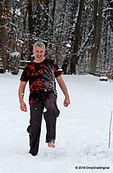 Tričká - Pánske tričko farbené a maľované BIELY - 6279736_
