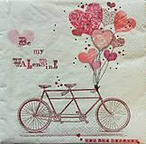 - S598 - Servítky - bicykel, srdce, láska, valentín - 6287338_