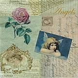 - S494 - Servítky - vintage, anjel, ruža - 6287355_