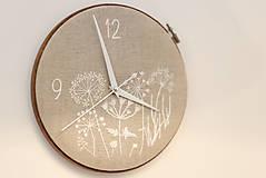 Hodiny - Lúčny sen, ručne vyšívané nástenné hodiny - 6287402_