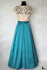 Šaty - Spoločenské šaty vo vintage štýle s hrubou krémovo-zlatistou krajkou - 6285955_