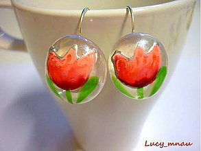 Náušnice - Náušničky tulipány oranžovo-ružové :) - 6286547_