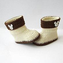Topánočky - Háčkované čižmičky s lemom a myšiakom - 6286787_