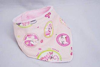 Detské doplnky - Nákrčník ružové mačičky s wellsoftom - 6291210_