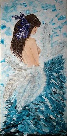 Obrazy - Žena s perím - 6291030_