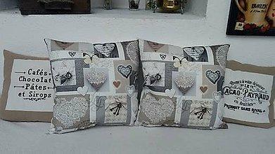 Úžitkový textil - Vankúšik so srdiečkami / vankúšik + obliečka - 6288374_
