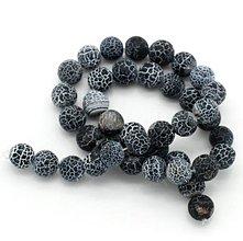 Minerály - Achátové korálky 10 mm čierno šedé - 6290690_