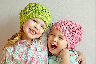 Detské čiapky - Jarná zelená - 6291127_