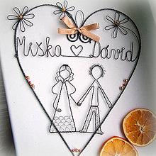Dekorácie - svadobné ♥ zlato-medené  23cm - 6293356_