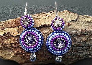 Náušnice - modré cukríkové náušnice so swarovski - 6296357_