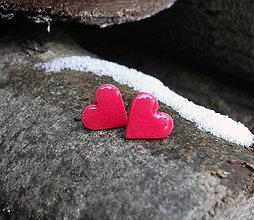 Náušnice - Srdiečka 15 mm (červené) - 6295691_