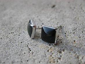 Náušnice - Čierne mini napicovačky rhodium 7mm, č.1482 - 6293400_