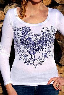 Tričká - Ručne maľované tričko Kohút... - 6293837_