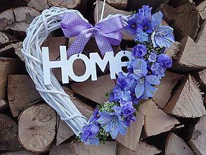 Dekorácie - Fialové srdce s nápisom HOME - 6294982_
