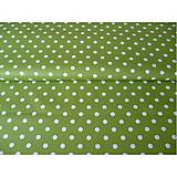 Textil - Green with white dots - vzor 113 - 6300491_