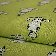 Textil - Ovečky jarná zelená - vzor 32 - 6301138_