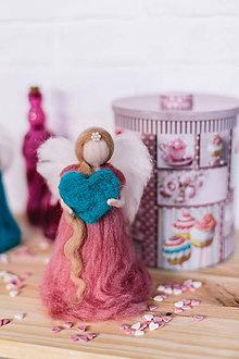 Dekorácie - Anjel pastelka ružová - 6297940_