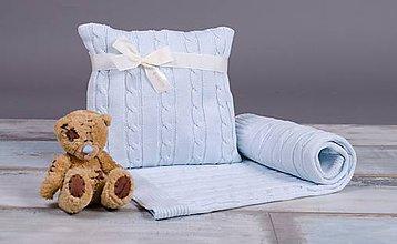 Textil - Zimná,Letná Deka, 80x100 a Vankúšik - bledomodrá - 6300894_