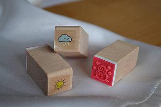 Pomôcky/Nástroje - Sada drevených pečiatok - počasie, 3.50€/3ks - 6296783_