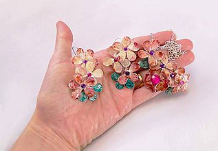 Sady šperkov - lel, pearl flowers prívesok a náušnice - 6301765_