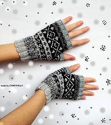 Rukavice - Rukavičky s nórskym vzorom sivo-antracitové - 6302834_
