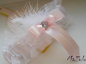 Bielizeň/Plavky - svadobný podväzok & pastelovoRužová - 6302947_