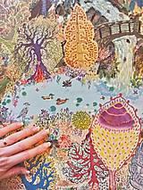 V lesoch...-exkluzívna maľovaná hodvábna šatka