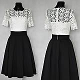 Šaty - Koktejlové šaty so skladanou sukňou z hrubej krajky s rukávom rôzne farby - 6302041_