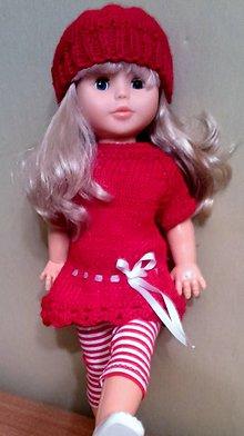 Bábiky - Červené šaty,čiapka a elasťáky - 6303900_