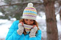 Čiapky, čelenky, klobúky - biely vypletaný set čiapka a nákrčník - 6305161_