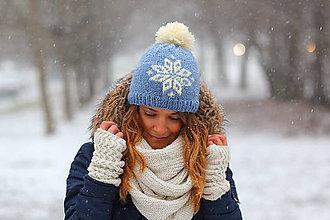 Čiapky, čelenky, klobúky - svetlomodrá s bielou hviezdou - 6305030_