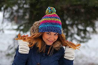 Čiapky, čelenky, klobúky - pruhovaný farebný melír - 6305117_
