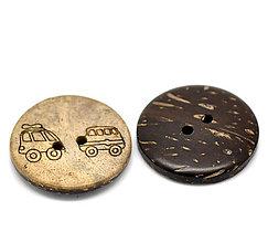 Galantéria - Gravírovaný kokosový gombík s autíčkami 25mm - 6303476_