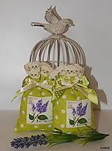 Úžitkový textil - Levanduľové vrecúška - sýto zelené - 6303473_