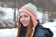 Čiapky - Zimná pletená ušianka
