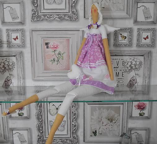 bábika tilda anjelička v ružovo - fialkovom   prevedení