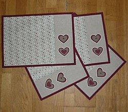 Úžitkový textil - Prestieranie so srdiečkami - dva varianty (2. variant) - 6307692_