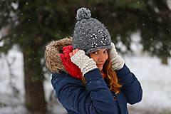 Čiapky, čelenky, klobúky - sivý melír s trblietkami - 6307227_