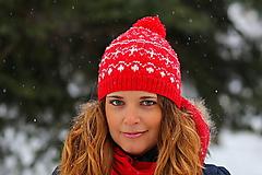 Čiapky, čelenky, klobúky - červená s bielym nórskym vzorom - 6307242_