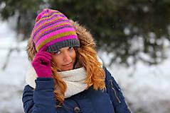 Čiapky, čelenky, klobúky - 4-farebné pruhovaná - 6308851_