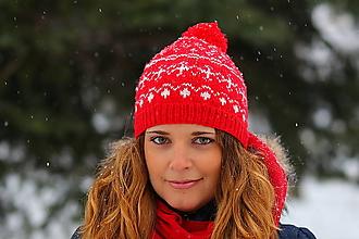 Čiapky - červená s bielym nórskym vzorom - 6307242_
